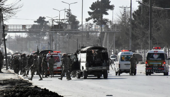 Army vehicles and ambulances gather outside the Bethel Memorial Methodist Church after an attack by gunmen, in Quetta, Pakistan December 17, 2017. Photo: REUTERS