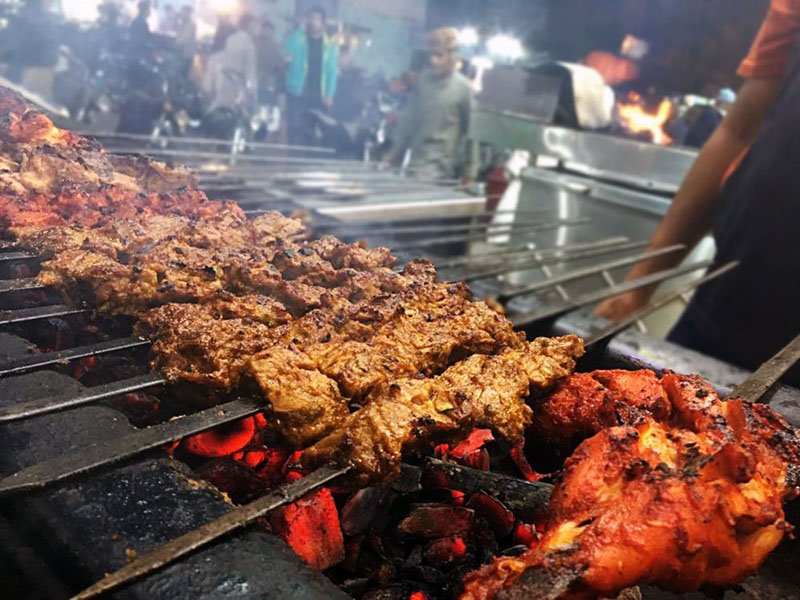Tikka and kababs on the grill at Waheed Kabab House