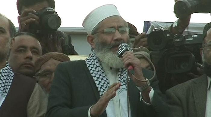 JI chief expresses solidarity with Palestinians at Karachi million march