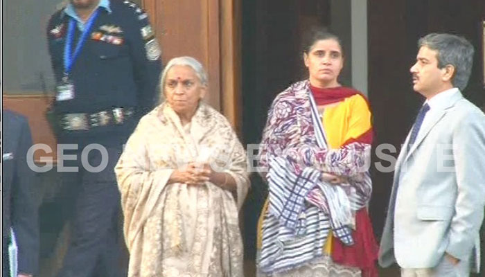 Jadhav's mother and wife after meeting him at Foreign Office