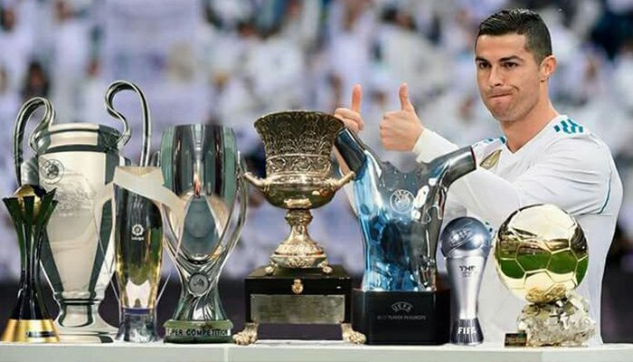 Ronaldo Shows Off His Individual And Collective Trophies From The Calendar Year