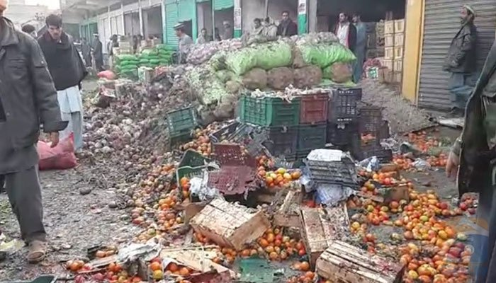 Vegetables scattered out of crates after the blast in Eidgah Market, Parachinar on January 21.