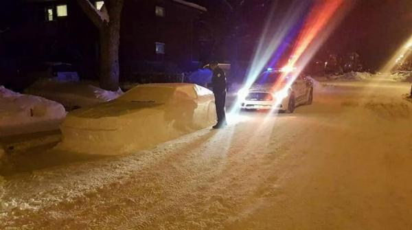 Canadian man fools police with fake car made of snow