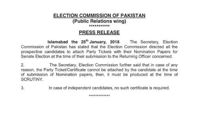 ECP notification regarding party tickets
