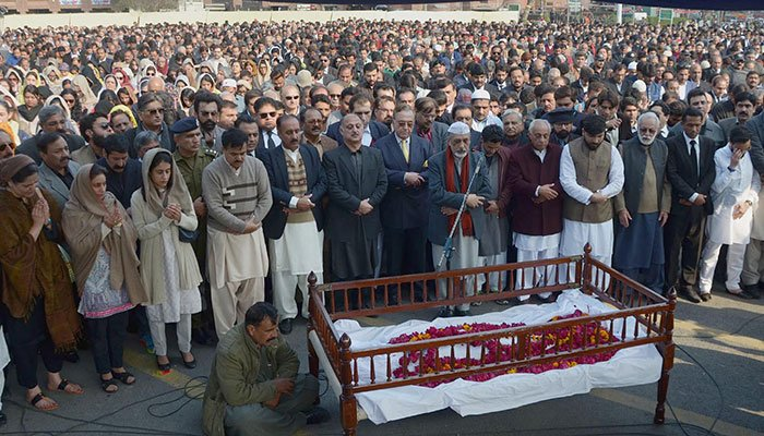 A large number of people are offering the funeral prayers of prominent lawyer and human rights activist Asma Jahangir at Gaddafi Stadium. ONLINE