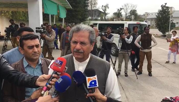 PTI leader Shafqat Mehmood speaks to journalists