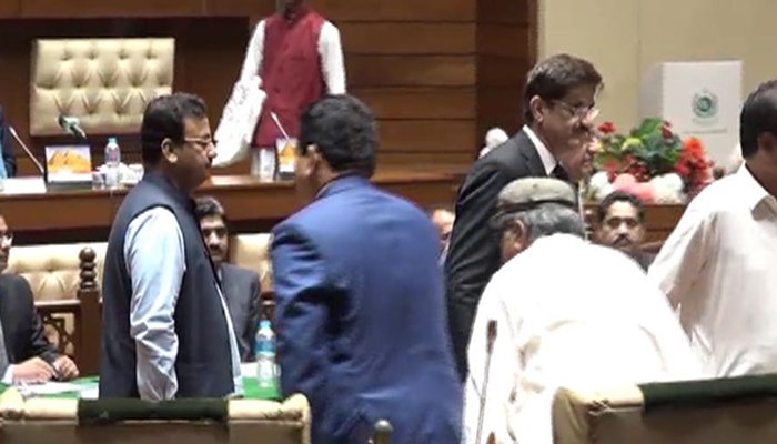 CM Sindh Murad Ali Shah in the Sindh Assembly during voting for the Senate election