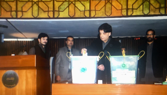 Chaudhry Nisar casting his vote