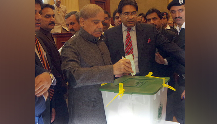 Punjab CM Shehbaz Sharif casting his vote in the Senate election