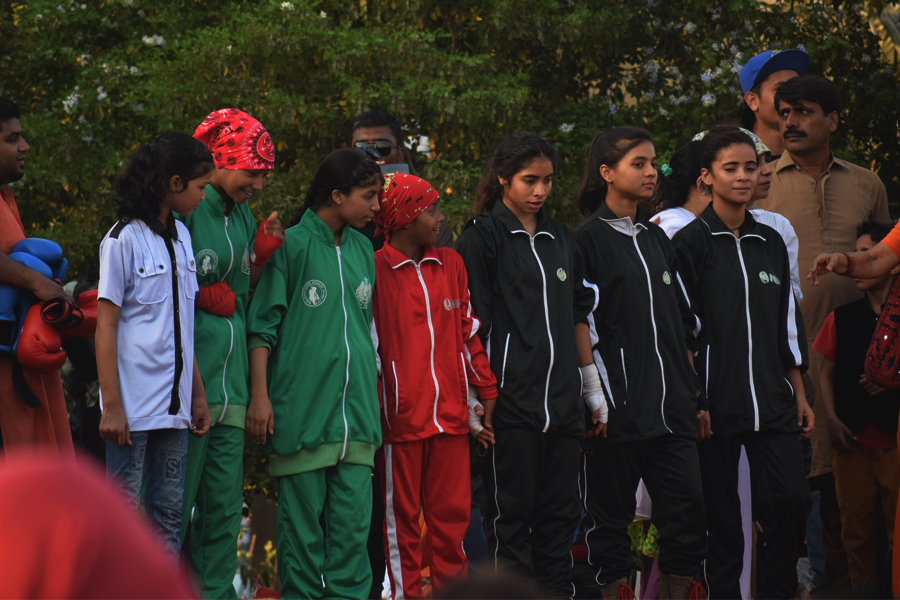 Members of the Lyari Boxing Club participate in the Aurat March 2018 held at Frere Hall, Karachi, Pakistan, March 8, 2018. Geo.tv/Author