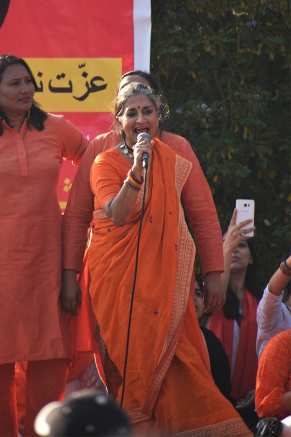 Sheema Kirmani, a social activist, theater director, and an exponent of Bharatnatyam dance, speaks at the Aurat March 2018 held at Frere Hall, Karachi, Pakistan, March 8, 2018. Geo.tv/Author