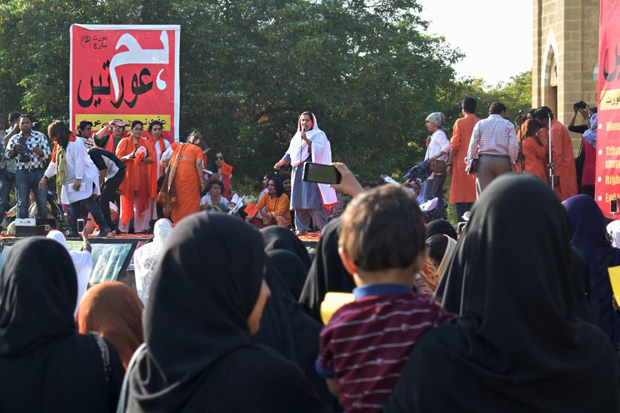 Various members of the Hum Aurtein on-stage during the Aurat March 2018 held at Frere Hall, Karachi, Pakistan, March 8, 2018. Geo.tv/Author