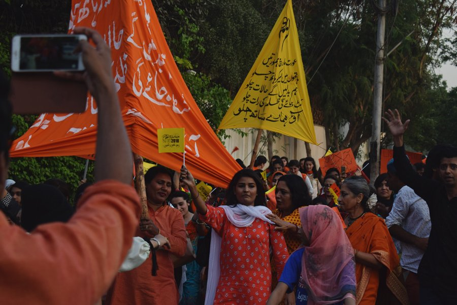Ladies participating in the Aurat March 2018 held at Frere Hall, Karachi, Pakistan, March 8, 2018. Geo.tv/Author