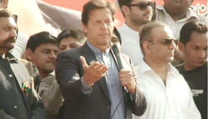 Shoe hurled at Aleem Khan as Imran addresses rally