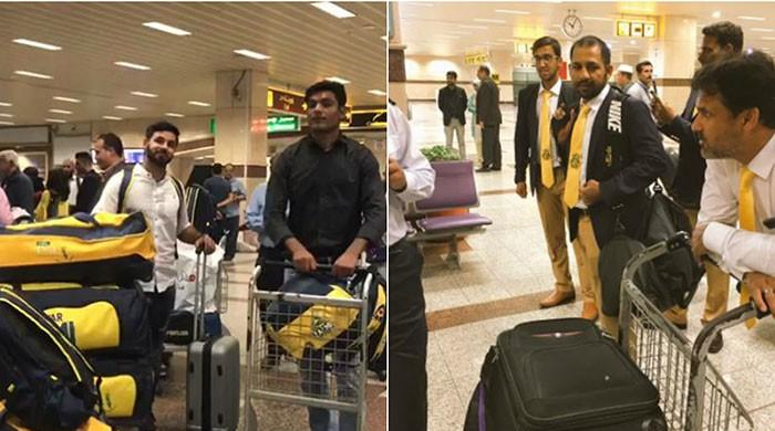 Local players of Quetta Gladiators, Peshawar Zalmi arrive in Lahore
