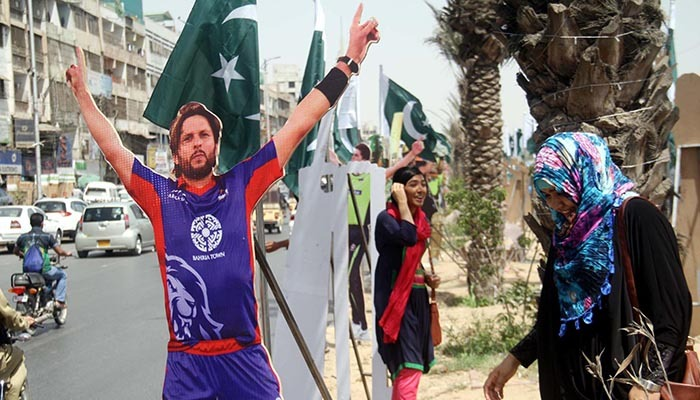 Poster of Shahid Afridi in Karachi ahead of the PSL final on Mar 25