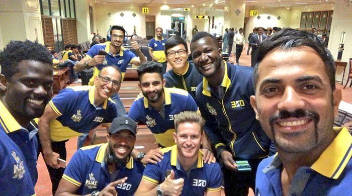 Peshawar Zalmi players arrive in Karachi for PSL final