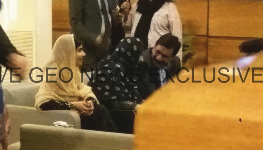 Malala Yousafzai, the Pakistani Nobel laureate and education activist, arrives in the Rawal Lounge of the Benazir Bhutto International Airport, Islamabad, Pakistan, March 29, 2018. Geo.tv via Geo News/Screenshot