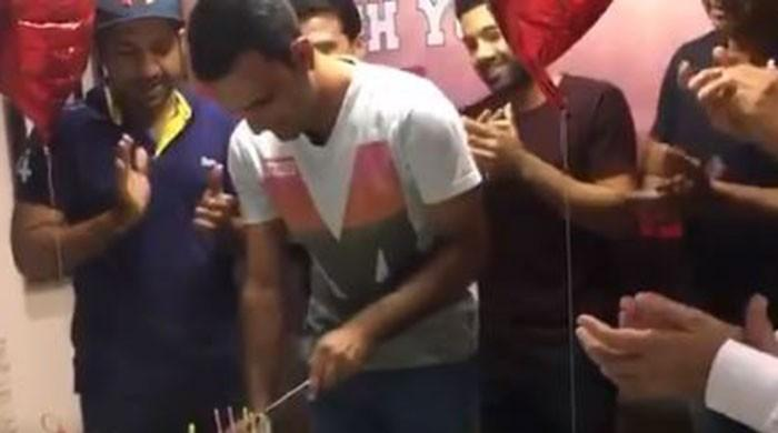 Birthday boy Fakhar Zaman given surprise party by Lahore Qalandars