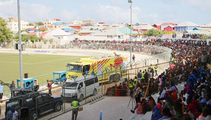 5 football fans are killed by bomb blast at Packaged Somalia Scene
