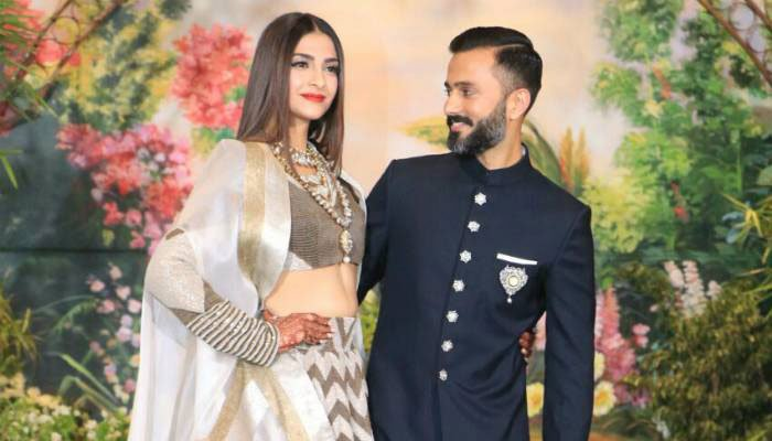 The new bride Sonam Kapoor with her beau Anand Ahuja at their wedding reception