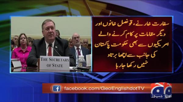 US envoys being 'treated badly' in Pakistan, claims Pompeo