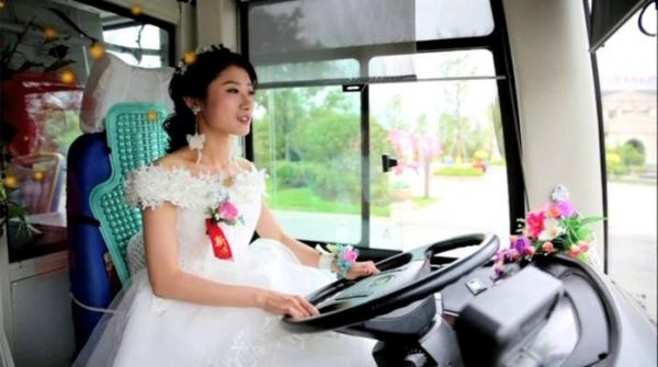 Chinese bride drives to her groom in bus