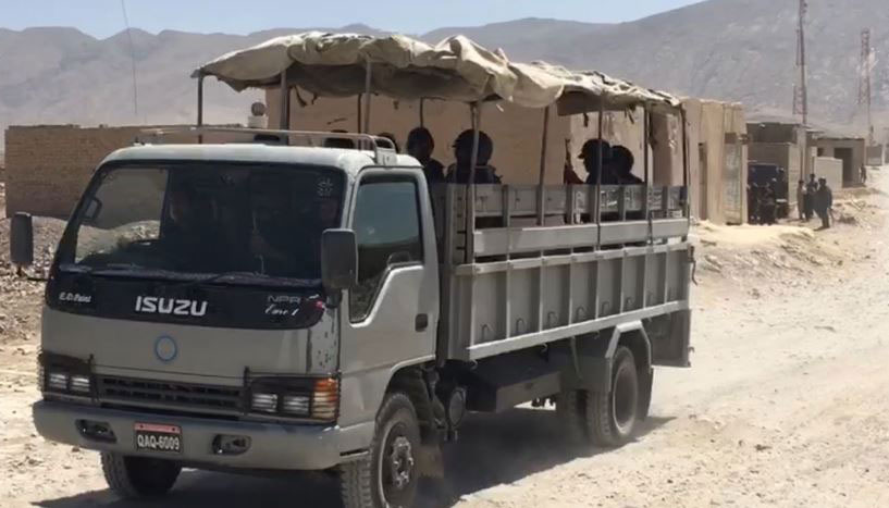 Vehicle carries security forces personnel.