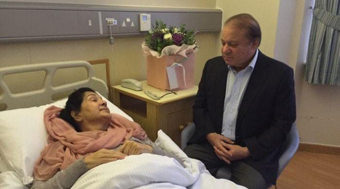 Kulsoom's condition slightly better but not out of danger yet: Nawaz
