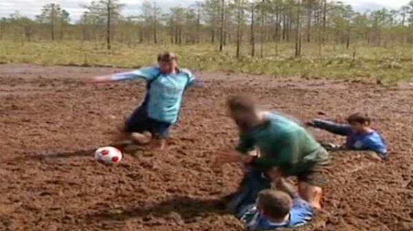 Swamp football tournament in Russia