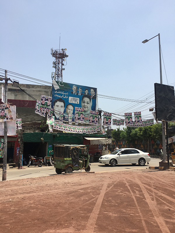 Political posters on display near Mohni Road