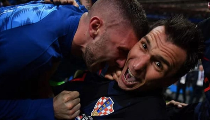 AFP photographer Yuri Cortez gets close to the celebrations involving Croatia forward Mario Mandzukic. Photo: AFP