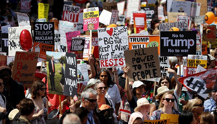 Demonstrators protest against the visit of US President Donald Trump, in central London, Britain, July 13, 2018. Photo: Reuters