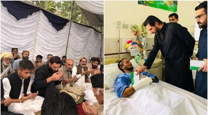 Shahid Afridi visits Quetta, meets people injured in Mastung blast