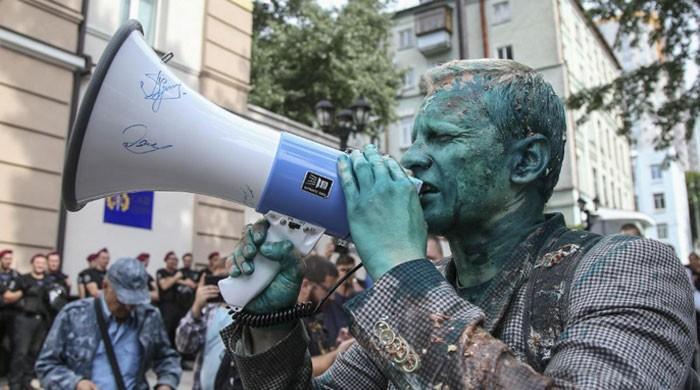 Ukraine anti-corruption activist attacked with green liquid