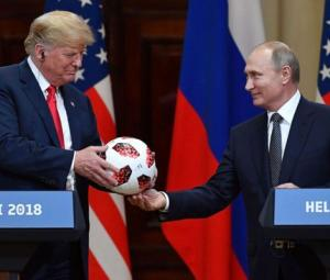 World Cup host Putin gives Trump football made in Pakistan