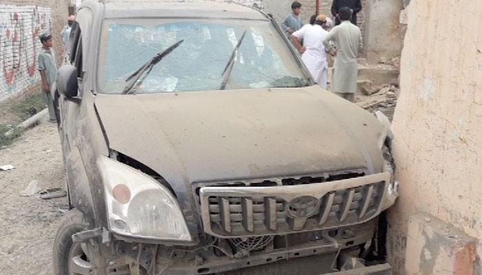 A view of Gandapur's vehicle after the attack. Photo: Geo News