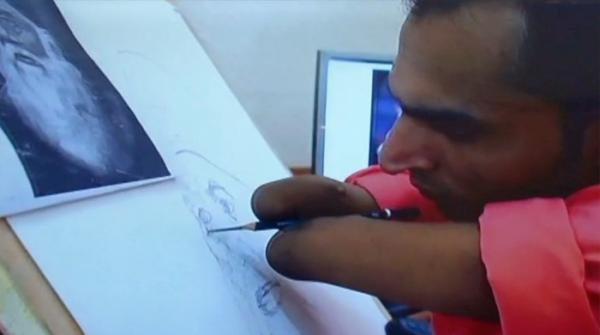 Differently-abled person's artwork display on Aug 14