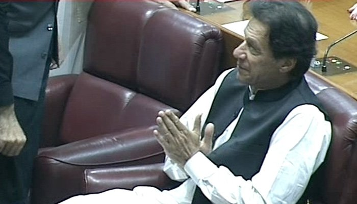 PTI Chairman Imran Khan arrives at the National Assembly - Photo: Screengrab