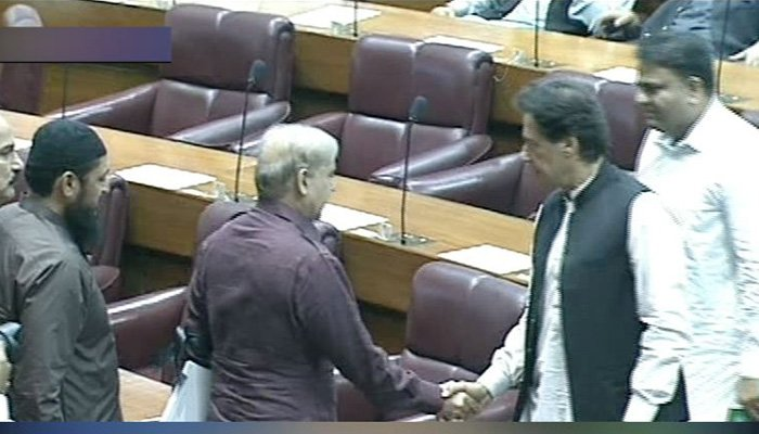 Imran, Shehbaz greet each other ahead of the PM election - Photo: Screengrab