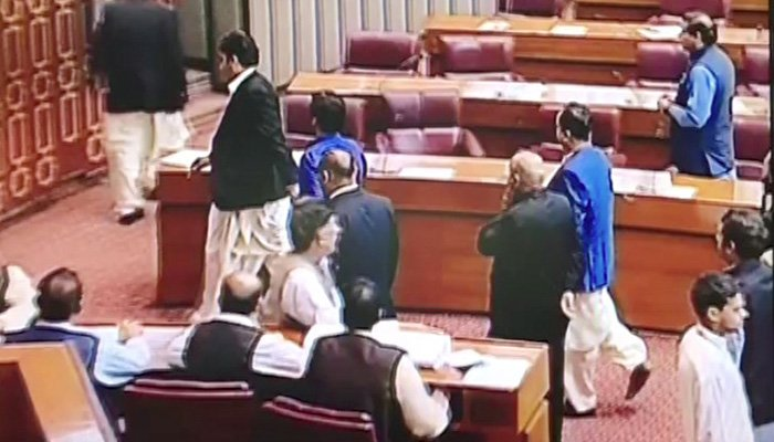 PPP chairman Bilawal Bhutto Zardari and other party MNAs leaving the National Assembly after the result was announced – Photo: Screengrab