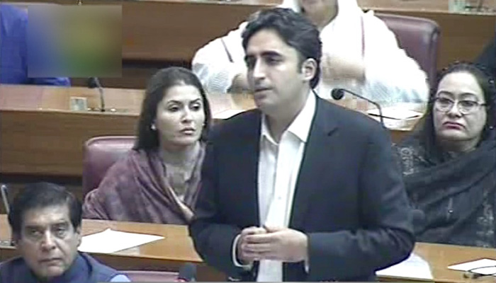 PPP chairman Bilawal Bhutto Zardari during his maiden National Assembly address - Photo: Screengrab