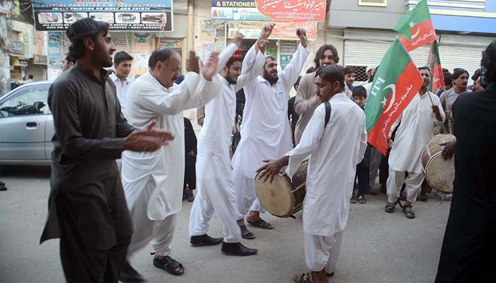 Supporters PTI chairman Imran Khan celebrate in Quetta after he is elected Prime Minister of Pakistan – Photo: PPI