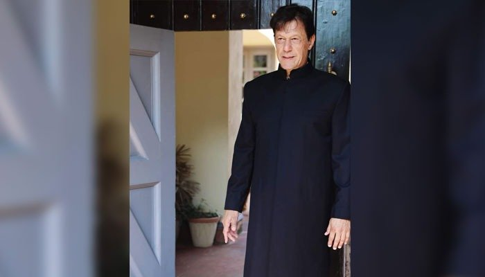 First glimpse of Imran Khan in his black sherwani which he wore to the oath-taking ceremony. Photo: PTI social media