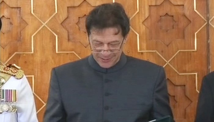 Imran Khan during the oath-taking ceremony. Photo: Geo News
