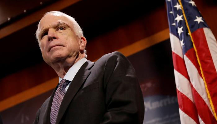 Senator John McCain Looks On During A Press Conference Capitol Hill In Washington US July 27 2017 REUTERS Aaron P Bernstein Files