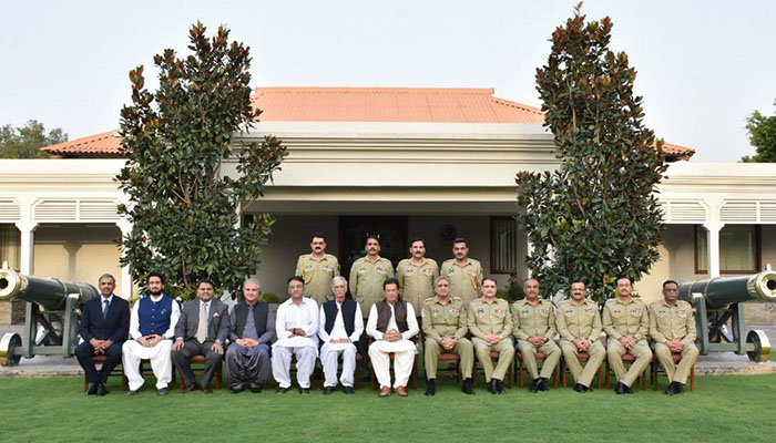 PM Imran Khan and federal ministers visited the GHQ on Thursday - Photo:ISPR