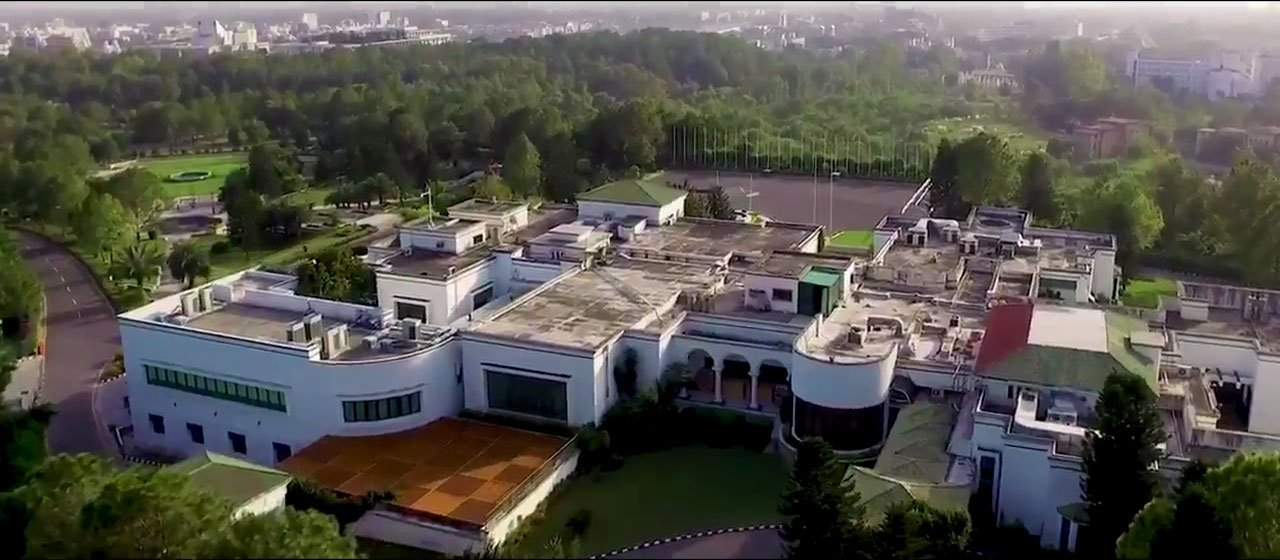 Aerial photo released by the PTI government of the 1100 canal Prime Minister House in Islamabad.