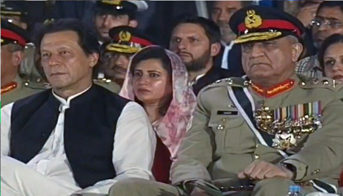 Prime Minister Imran Khan, COAS General Qamar Javed Bajwa attends Defence Day event at GHQ. Photo: Geo News