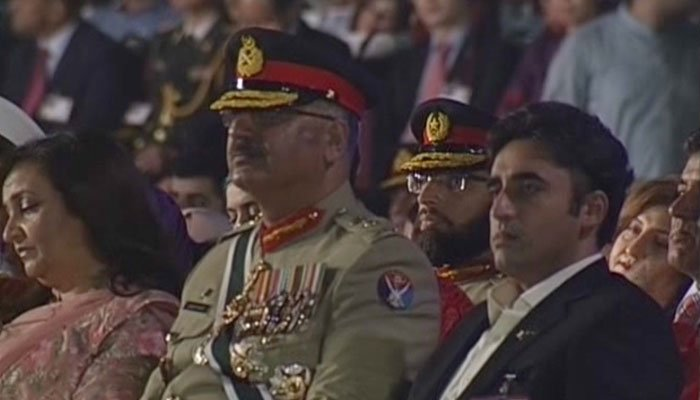 PPP Chairman Bilawal Bhutto Zardari attends Defence Day event at GHQ. Photo: Geo News